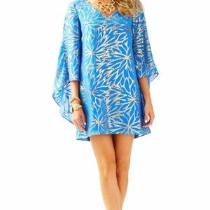 Lilly Pulitzer Blue and Gold Cape Dress New w Tags